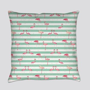 Pink Flamingos on green and white Everyday Pillow
