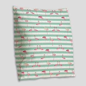 Pink Flamingos on green and wh Burlap Throw Pillow