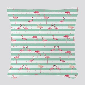 Pink Flamingos on green and wh Woven Throw Pillow