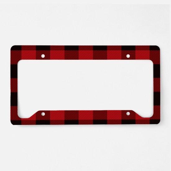 Cottage Buffalo Plaid Lumber License Plate Holder