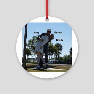Sailor Kissing Nurse Round Ornament