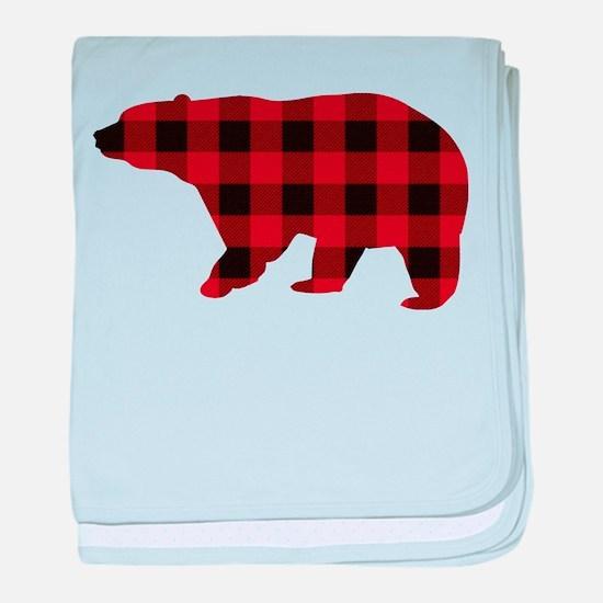 lumberjack buffalo plaid Bear baby blanket