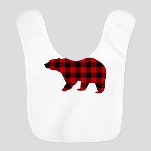 lumberjack buffalo plaid Bear Polyester Baby Bib