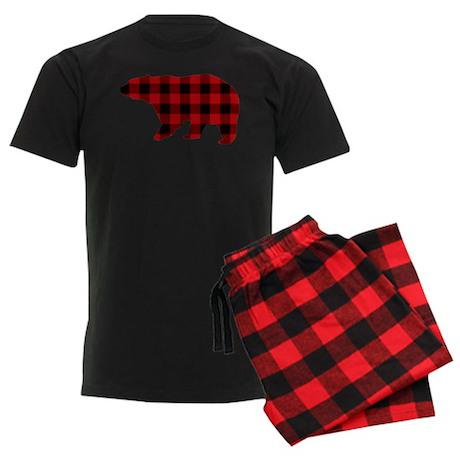 lumberjack buffalo plaid Bear Men's Dark Pajamas