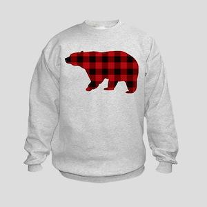 lumberjack buffalo plaid Bear Kids Sweatshirt