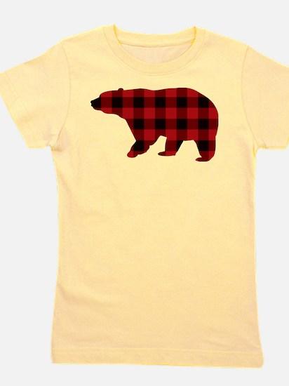 lumberjack buffalo plaid Bear Girl's Tee