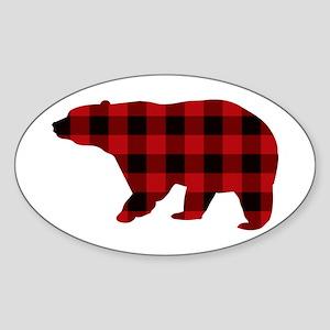 lumberjack buffalo plaid Bear Sticker