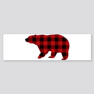 lumberjack buffalo plaid Bear Bumper Sticker