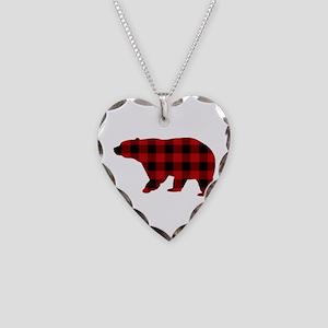 lumberjack buffalo plaid Bear Necklace Heart Charm