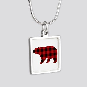 lumberjack buffalo plaid Bear Necklaces