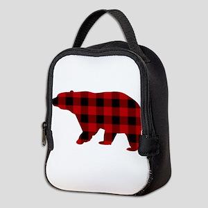 lumberjack buffalo plaid Bear Neoprene Lunch Bag
