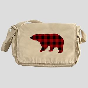 lumberjack buffalo plaid Bear Messenger Bag