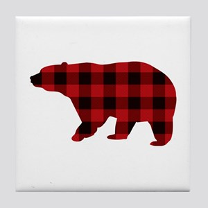lumberjack buffalo plaid Bear Tile Coaster