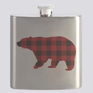 lumberjack buffalo plaid Bear Flask