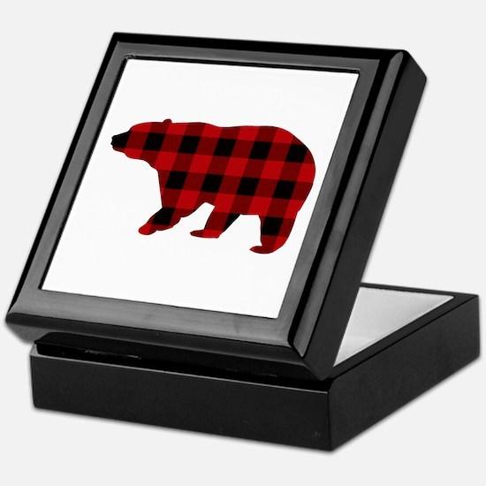 lumberjack buffalo plaid Bear Keepsake Box