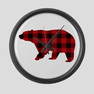 lumberjack buffalo plaid Bear Large Wall Clock
