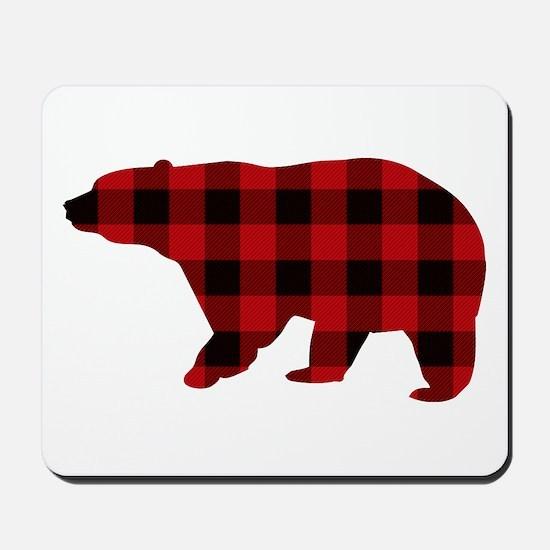 lumberjack buffalo plaid Bear Mousepad