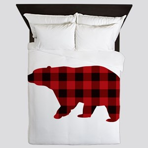lumberjack buffalo plaid Bear Queen Duvet