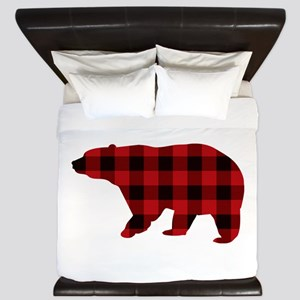 lumberjack buffalo plaid Bear King Duvet