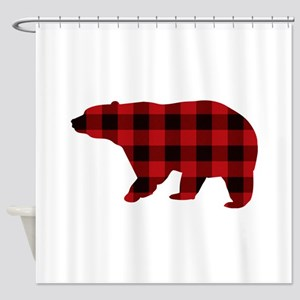 Lumberjack Buffalo Plaid Bear Shower Curtain