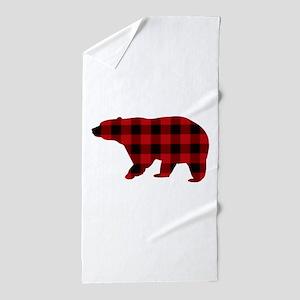 lumberjack buffalo plaid Bear Beach Towel