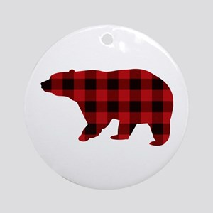 lumberjack buffalo plaid Bear Round Ornament