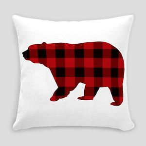 lumberjack buffalo plaid Bear Everyday Pillow
