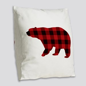 lumberjack buffalo plaid Bear Burlap Throw Pillow