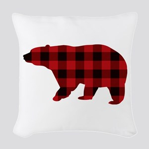 lumberjack buffalo plaid Bear Woven Throw Pillow
