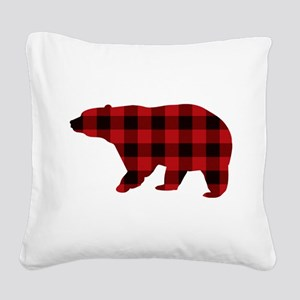 lumberjack buffalo plaid Bear Square Canvas Pillow