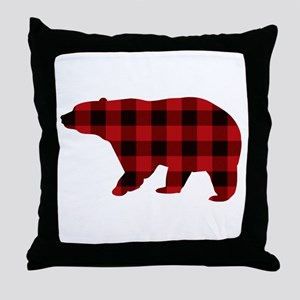 lumberjack buffalo plaid Bear Throw Pillow