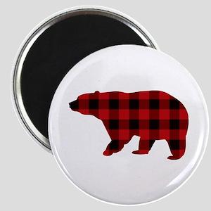lumberjack buffalo plaid Bear Magnets