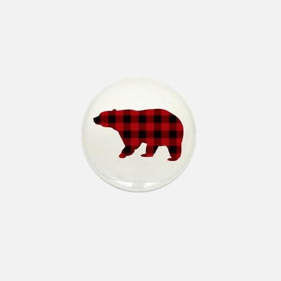 lumberjack buffalo plaid Bear Mini Button