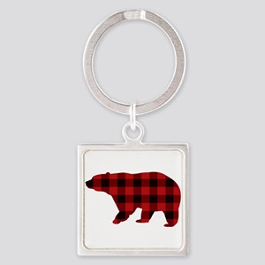 lumberjack buffalo plaid Bear Keychains