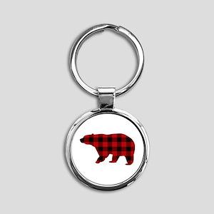 lumberjack buffalo plaid Bear Keychains