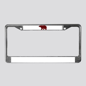 lumberjack buffalo plaid Bear License Plate Frame