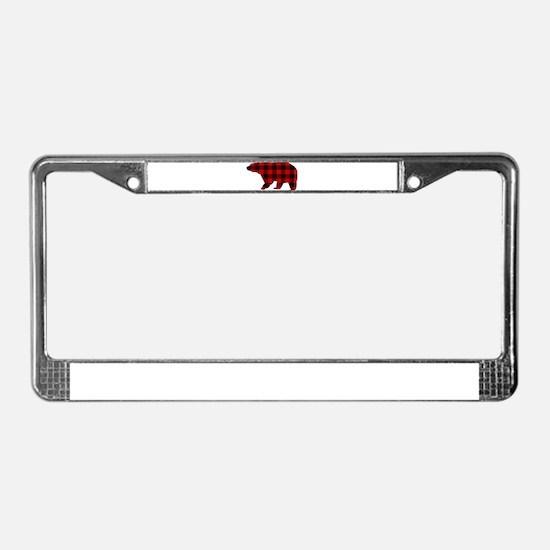lumberjack buffalo plaid Bear License Plate Frame
