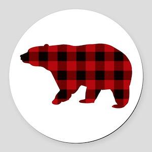 lumberjack buffalo plaid Bear Round Car Magnet