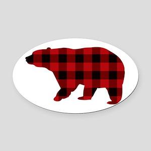 lumberjack buffalo plaid Bear Oval Car Magnet