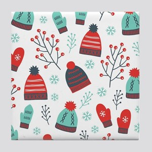Christmas Hats, Mittens & Winter Tile Coaster