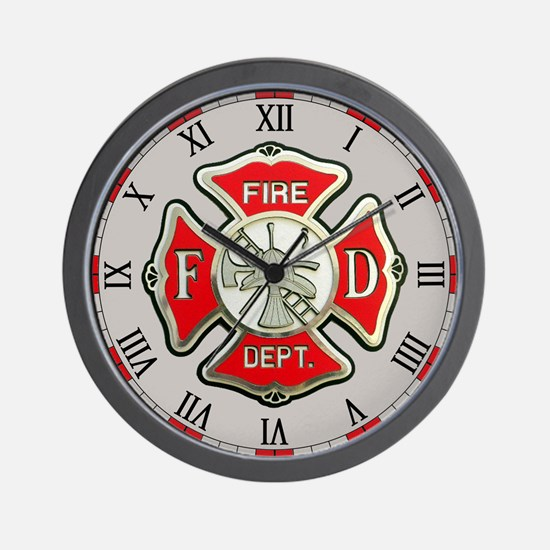 Fire Department Gray Wall Clock