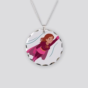 Superhero woman Necklace Circle Charm