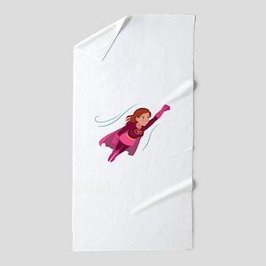 Superhero woman Beach Towel