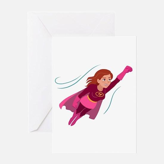Superhero woman Greeting Cards