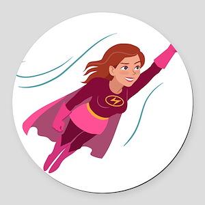 Superhero woman Round Car Magnet
