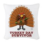 Turkey Day Survivor Woven Throw Pillow