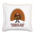 Turkey Day Survivor Square Canvas Pillow