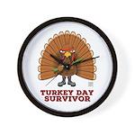 Turkey Day Survivor (thanksgiving) Wall Clock