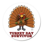 Turkey Day Survivor Round Car Magnet