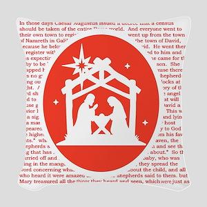 Christmas story Nativity Woven Throw Pillow